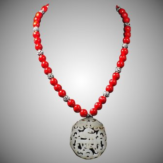 Openwork Nephrite Jade Pendant, Enhanced Coral beads
