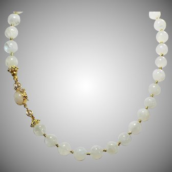 Rainbow Moonstones And Gold Vermeil, Necklace With Earrings