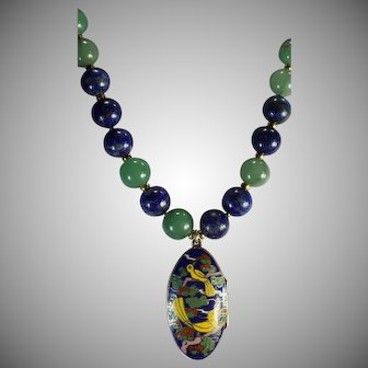 Chinese Cloisonne Picture  Locket, Lapis and Aventurine Beaded, Necklace With Earrings