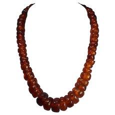 Circa 1900s, Rare, Exceptional, Honey, Baltic Amber,14K Necklace