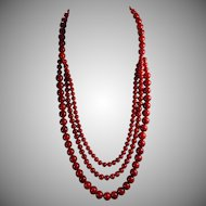 Natural, Undyed Sardinia Red, Mediterranean Coral, Statement Necklace