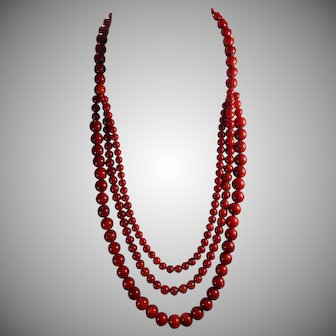 Natural, Undyed Sardinia Red, Mediterranean Coral, Statement Necklace