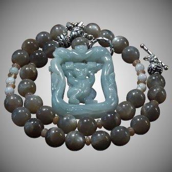 Amazing, Natural Jade, Carved Swinging Monkey, Pendant, Sunstone Necklace