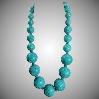 Huge, Turquoise Carved Longevity Bead Necklace