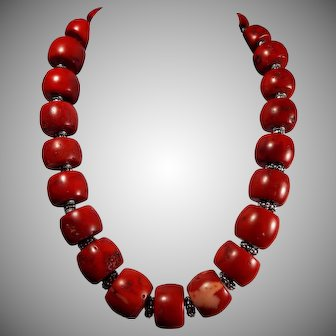 Huge, Barrel Bead, Natural Sardinia Red, Coral Necklace