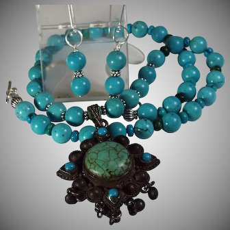 Arizona Turquoise Necklace, With Old Chinese Pendant, Earrings