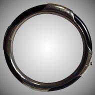 1950s Sterling Silver, Black Onyx, Hinged Bracelet