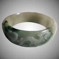 Green, White Nephrite Jade Floral  Carved Bangle