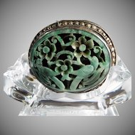 Vintage Jade Handcarved, Openwork, Sterling Silver Encased , Belt Buckle