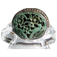 Vintage Jade Handcarved, Openwork, Sterling Silver Encased , Belt Buckle