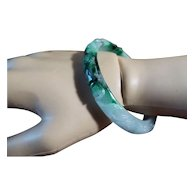 Green And White Nephrite Jade Bangle, Carved