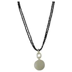 Double Strand, Of Sparkling Black Spinel, Nephrite Jade, Devils Work, Pendant Necklace