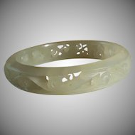 Light Celadon Nephrite, Jade Openwork Bangle