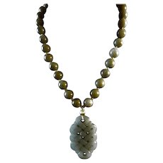 Natural Jadeite, Handcarved Chinese knot Pendant, Large Jadeite Beads Necklace, With Earrings