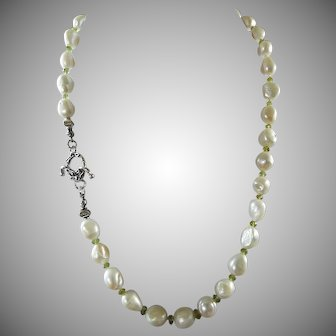 Natural, South Sea, White Baroque Cultured Pearl Necklace, Earrings
