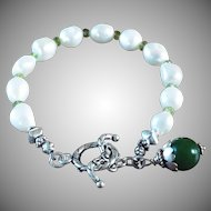 Natural, South Sea,White,Baroque Cultured Pearl Bracelet