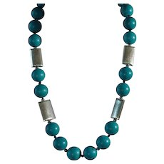 Large Turquoise Colored Bead Necklace, Earrings