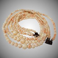 "1920s Blush, Angel Skin Coral , Torsade 14"" Choker Necklace"