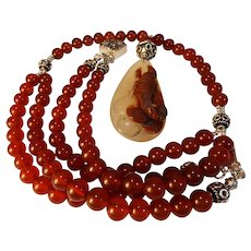 Chinese, Old Natural Hetian Jade, Hand-Carved Scorpion Pendant, Carnelian Beads,Earrings