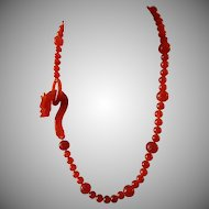 Vintage, Chinese, Carnelian Carved Dragon Clasp. Necklace