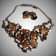 Vintage, Art Deco, Silver Carnelian Flower Panel Necklace, With Earrings