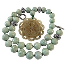 Jadeite Bead Necklace, With Nephrite Jade Pendant...
