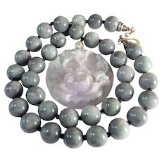 Rare Certified, Natural Grade A, Unprocessed Lavender.Peony Pendant, Blue/Gray Jadeite Beads Necklace