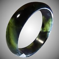 Natural Nephrite Jade Bangle, Black/Green