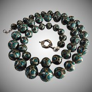 Art Deco Mosaic Inlaid Turquoise Silver Bead Necklace, Earrings