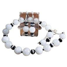 White, Natural, Nephrite Jade, Tibetan DZI Bead Necklace, Earrings