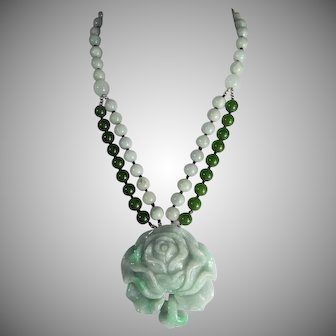 Jadeite, Carved Peony Flower, Jadeite Plus Nephrite Beads, Earrings