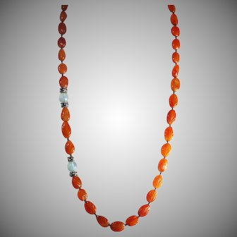 Carved Carnelian Moonstone, Necklace With Earrings