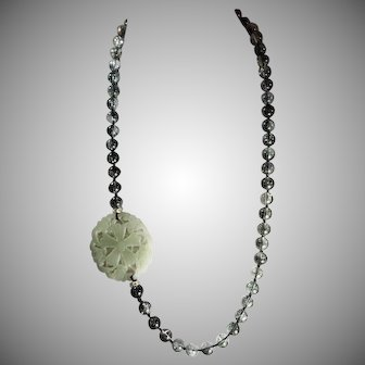 Green Rutilated Quartz, With Nephrite Jade Openwork Pendant, Earrings