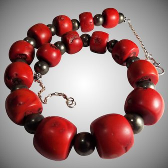 Huge, Sardinia Red Coral, Barrel Bead, Necklace, With Earrings