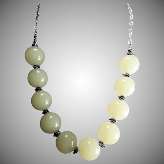 Perfectly, Gorgeous, Huge, White, Nephrite Jade Bead, Necklace, Earrings
