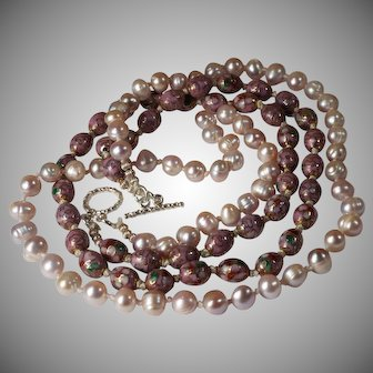 Lavender Cultured Pearls, Mauve, Chinese Enamel, Cloisonne Bead  Necklace, Earrings