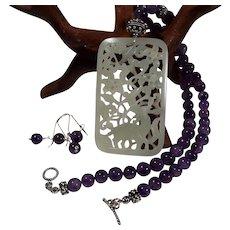 Nephrite Jade, Openwork Pendant, natural amethyst beads, Necklace, Earring