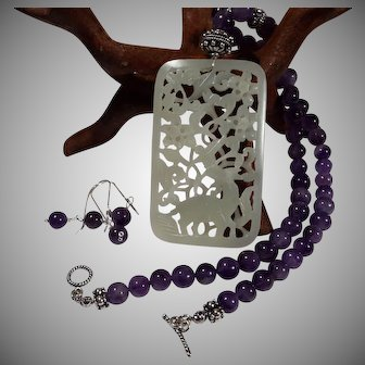 Nephrite Jade, Openwork Pendant, natural amethyst beads, Necklace, Earring