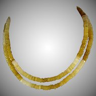 30 Inch, Natural Peruvian, Honey Yellow Opal Necklace