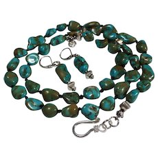 Blue - Green, Magnesite Turquoise Pebble Necklace, Earrings
