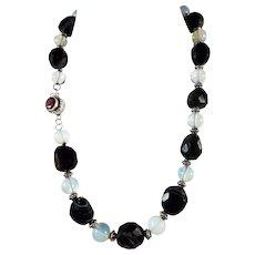 Large, Chunky,Natural Black Onyx, Gemstone Necklace