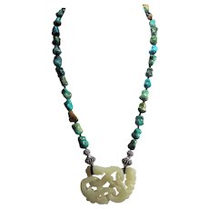 Devils Work, Love Knot, Nephrite Jade, Intertwined Pendant, Chinese Turquoise Necklace