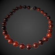 Art Deco, Cherry Red, Amber Bakelite, Necklace