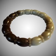 Unusual, Carved Bamboo Root, Nephrite Jade Bangle