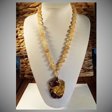 Large, Flower Pendant, Golden Rutilated Quartz  Bead, Necklace