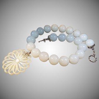 Large Bead, White Jade Necklace