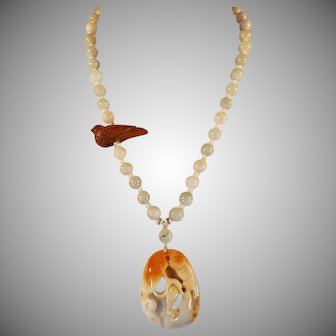 Chinese Jadeite Necklace With Netsuke