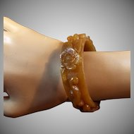 Vintage Fancy Carved Yellow Jade Bangle