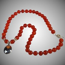 Sterling Silver,Carnelian Necklace