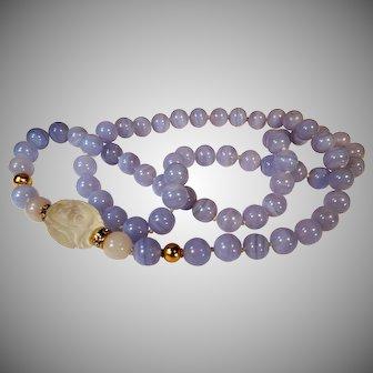 36 Inch, Continuous, Blue Lace Agate Necklace